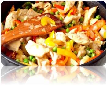 Как приготовит тушеную курицу с овощами